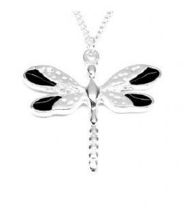 Black Enamel Wings Dragonfly Necklace